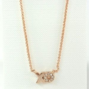 Fossil XO Charm Crystal Pendant Rose Gold Necklace